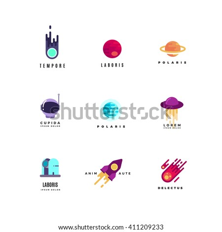 Astronautics vector logo set. Rocket icon, travel astronautics  logo, astronautics shuttle, astronautics ship illustration - stock vector