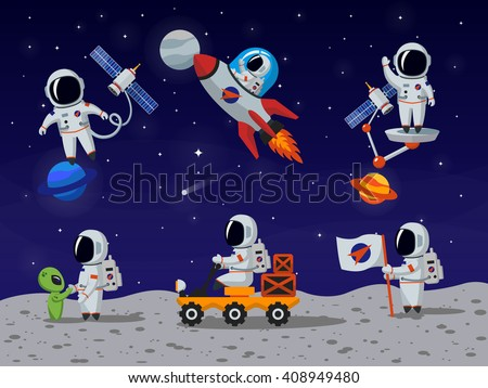 Astronauts characters set in flat cartoon style. Person, human spaceman. Vector illustration - stock vector