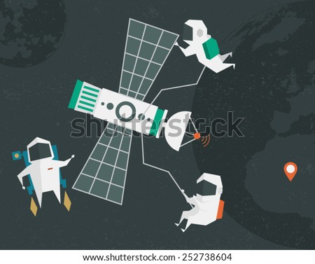 Astronauts illustration. The illustration on the theme of space. Use it in different areas of graphic art. File well edited. Layers have their names. - stock vector