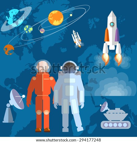 Astronauts in space: cosmonaut orbits planets rockets spacecraft study space shuttle vector illustration - stock vector