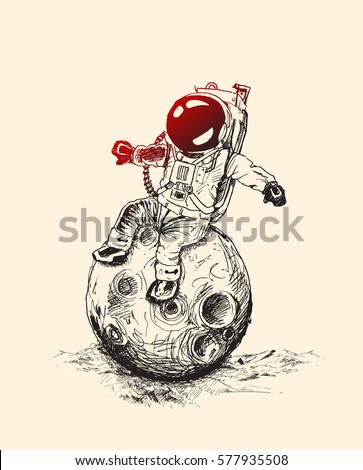 Astronauts sitting on Moon space mission, Hand Drawn Sketch Vector illustration.