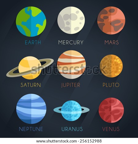 Astronomical Flat Icon Set : Vector Illustration - stock vector
