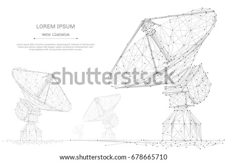 Astronomy. Abstract mash line and point radio telescope on white background with an inscription. Starry sky or space, consisting of stars and the universe. Vector cosmos or space illustration