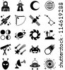 astronomy and space icons - stock photo