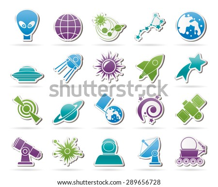 astronomy and space icons  - vector icon set - stock vector