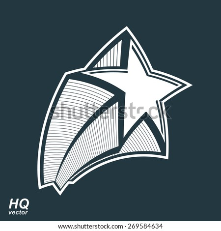 Astronomy conceptual illustration, pentagonal comet sta, vector celestial object with decorative comet tail. Eps8 superstar icon. Armed forces design element. - stock vector