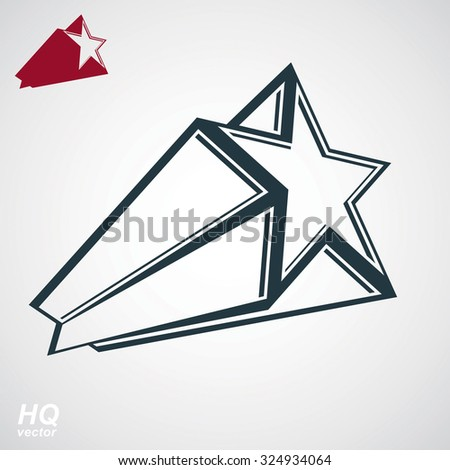 Astronomy conceptual illustration, pentagonal comet star, celestial object with decorative comet tail. Eps8 superstar icon. Armed forces design element isolated on white background. - stock vector