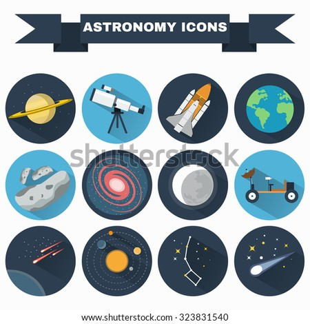 Astronomy Flat Vector Icons Set. Science objects for infographics, flyers, banners, brochures, books or booklets. Digital Illustrations on a space theme. Universe, galaxies and stars. - stock vector