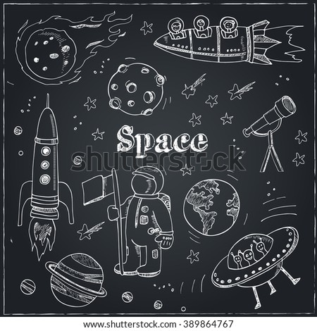 Astronomy hand drawn doodles. Stars, planet and space transportation. Useful for, packaging, design and interior decorating. Vector illustration.