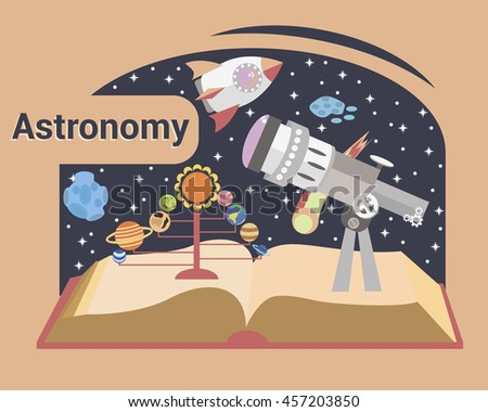 Astronomy. Modern illustration. Telescope on the open book on a background of the starry sky. - stock vector