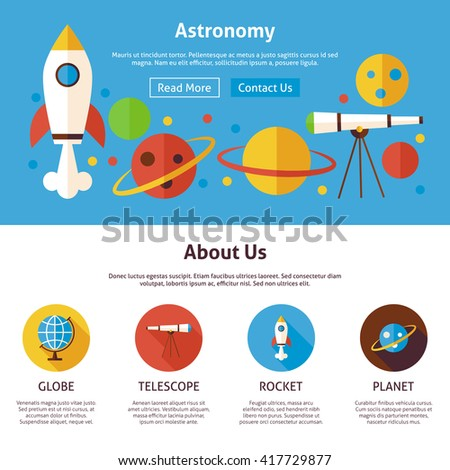 Astronomy Science Flat Web Design Template. Vector Illustration for Website banner and landing page. Education and Learning with Icons Modern Design.
