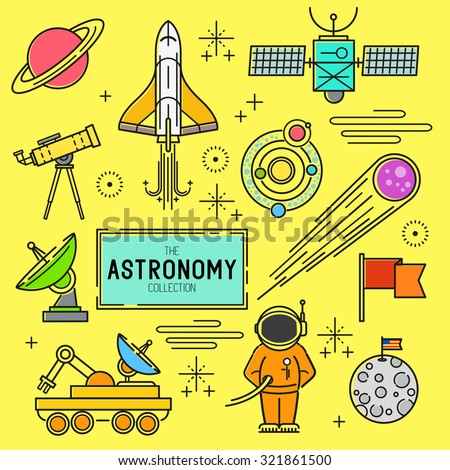 Astronomy Vector Icon Set. A collection of space themed line icons including a planet, rocket, spaceman and solar system. Layered Vector illustration. - stock vector
