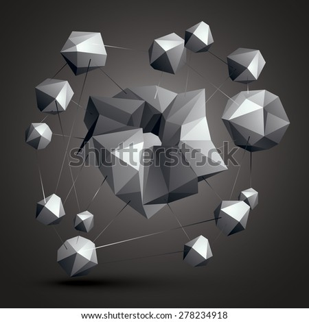 Asymmetric 3D abstract object, monochrome geometric spatial form. Render and modeling. Complicated construction - stock vector