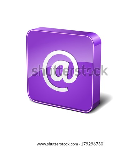 AT 3d Rounded Corner Violet Vector Icon Button