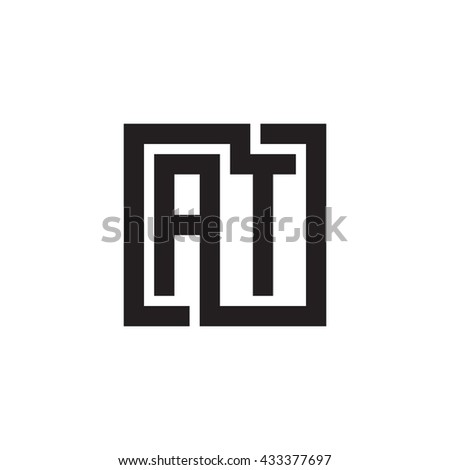 AT initial letters looping linked square monogram logo