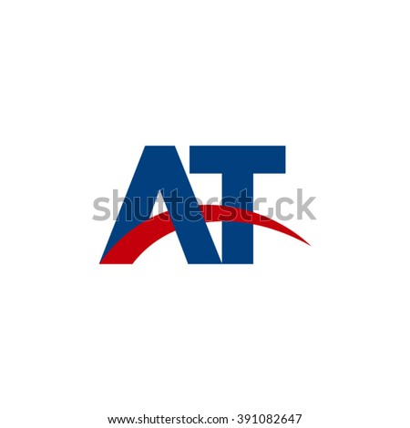 AT initial overlapping swoosh letter logo blue red