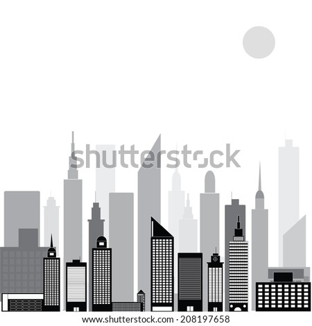 At night in the city black And white vector