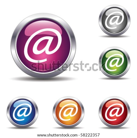 at symbol buttons - stock vector