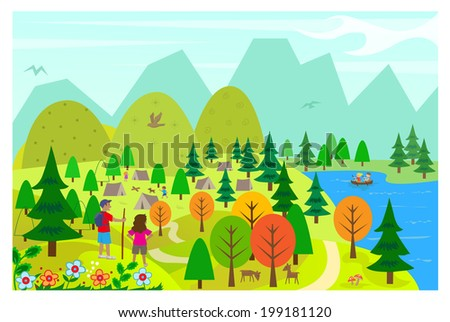 At The Lake - aerial view of a lake, hills and a camping site, with people doing activities. Eps10 - stock vector