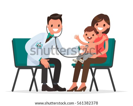 At the reception at the pediatrician. The doctor listens to breathing statoscope kid who sits in on her mother's lap. Vector illustration in a flat style