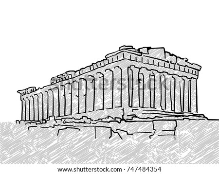 Athens Greece Famous Temple Sketch Lineart Drawing By Hand Greeting Card Design