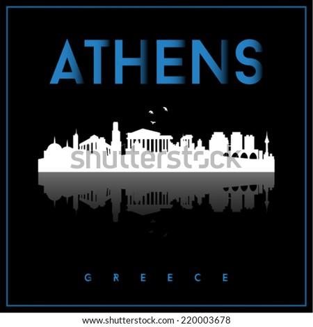 Athens, Greece skyline silhouette vector design on parliament blue and black background. - stock vector