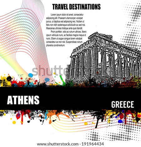 Athens, vintage travel destination grunge poster with colored splash and space for your text, vector illustration - stock vector