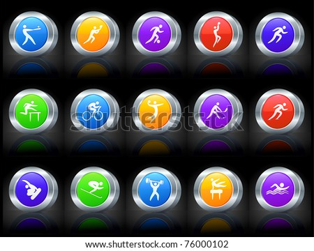 Athlete Icon on Button with Metallic Rim Collection Original Illustration - stock vector