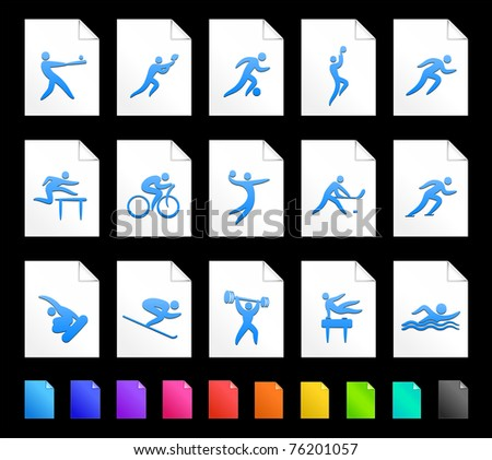 Athlete Icon on Document Icon Collection Original Illustration