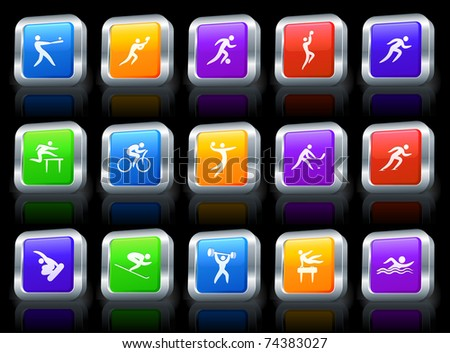 Athlete Icon on Square Button with Metallic Rim Collection Original Illustration - stock vector