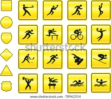 Athlete Icon on Yellow Sign Button Collection Original Illustration