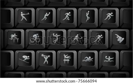 Athlete Icons on Black Computer Keyboard Buttons Original Illustration - stock vector