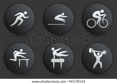 Athlete Icons on Black Internet Button Collection Original Illustration - stock vector