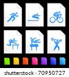 Athlete Icons on Colorful Paper Document Collection Original Illustration - stock vector
