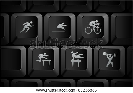Athlete Icons on Computer Keyboard Buttons Original Illustration - stock vector