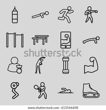 Athlete icons set. set of 16 athlete outline icons such as exercising, push up, running, swimmer, tennis playing, karate, muscular arm  on phone, muscular arm, man with medal