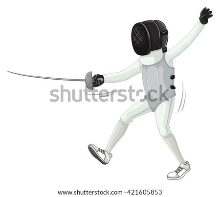 Athlete in fencing uniform with sword illustration