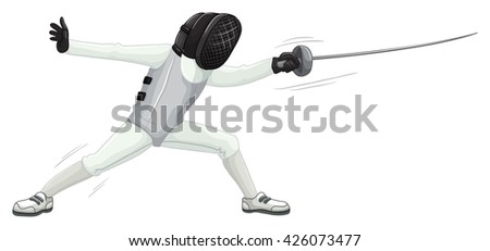 Athlete in uniform doing fencing illustration