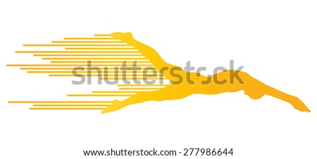 Athlete man swimmer jumping vector background concept made of stripes - stock vector