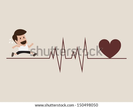 Athlete running with cardiogram symbol