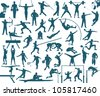 Athlete silhouettes set - sports vector illustration - stock vector