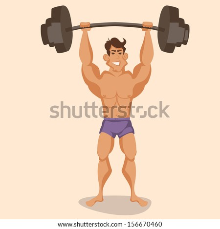 athlete with a barbell - stock vector