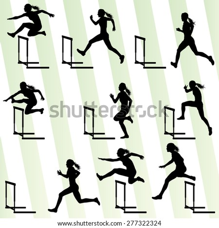 Athlete woman hurdling in track and field vector background set concept - stock vector