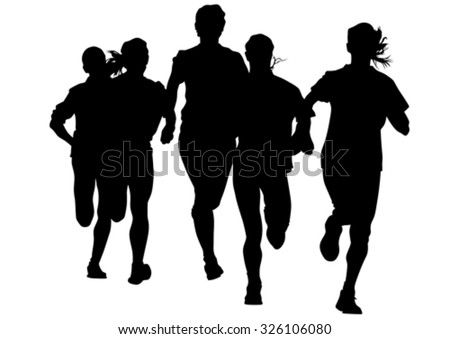 Athletes on running race on white background - stock vector