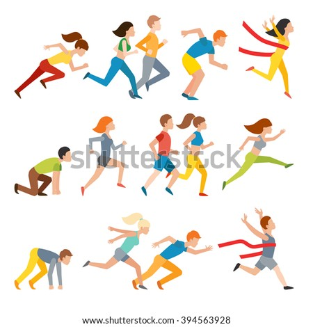 Athletic attractive run man people jogging in summer sport shorts enjoying runner exercising their healthy lifestyle. Multiethnic run man. Young couple group running marathon run man sprinting vector. - stock vector