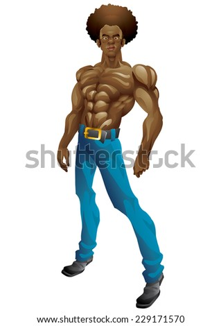 Athletic black man with big afro posing isolated - stock vector