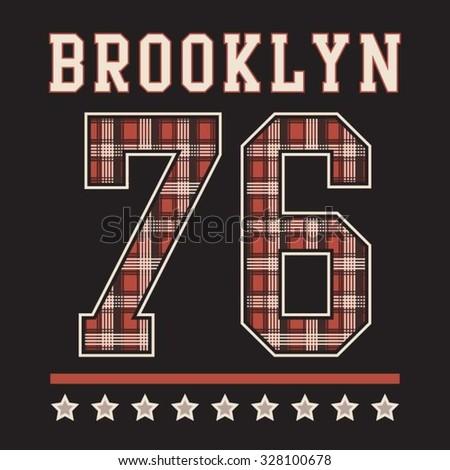 Athletic brooklyn typography, t-shirt graphics, vectors - stock vector