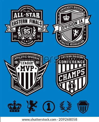 Athletic crest emblems - stock vector