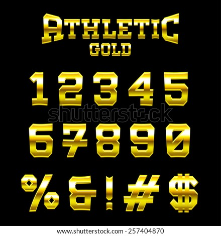 Athletic GOLD bold serif font. Part 4/6 (numbers)