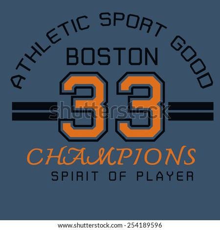 Athletic Graphic For T Shirt Design Separate Color Layersilk Screenvector